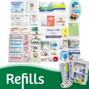 First Aid Kit Refills. We stock a First Aid Kit Refill for every First Aid Kit we have. Chat with us on our online chat function, or Email us to find out which best suits the Kit size you already have. Whether you have a personal or office First Aid Kit to restock, or a big Wallmount one, we have the right First Aid Kit Refill for you!